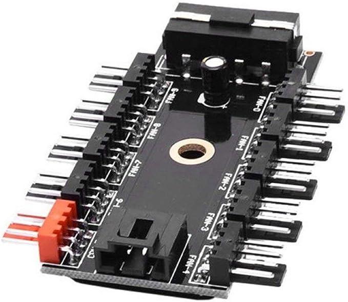 JullyCAnnice SATA Computer Fan Hub 4Pin PWM Hub PC Fan Large 4Pin Power Supply Splitter Adapter Support 10 Channels Fan Easy Installation