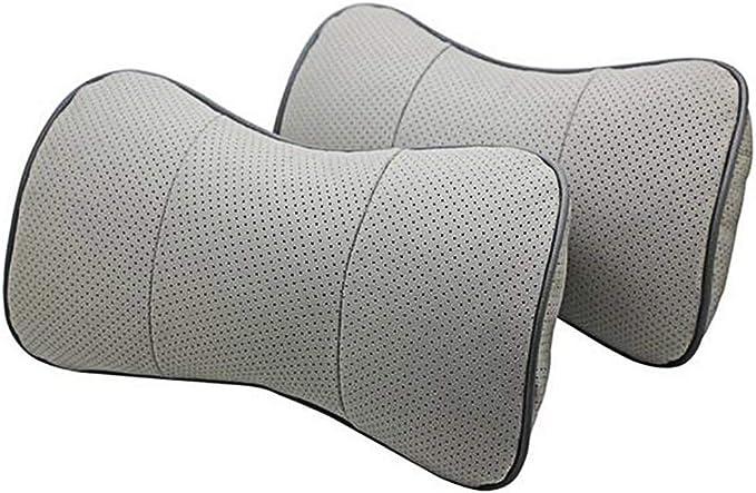 Cuir v/éritable Bone-shape Si/ège auto cou appui-t/ête de repos confortable Coussin Oreiller
