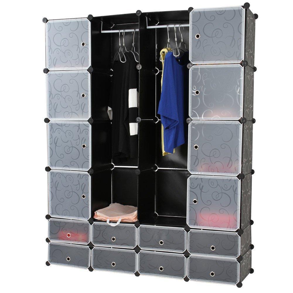 Miadomodo Armadio di Plastica DIY Fai da Te Scaffale Portaoggetti Modulare Portatile Modular Storage Stabile Guardaroba a Scompartimenti con Ante 18 Cubi Nero