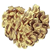 SAVFY 500PCS Silk Rose Petals Artificial Flower Wedding Party Decoration Supplies(Gold)