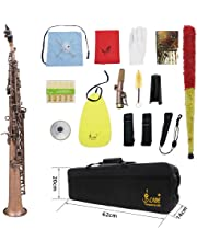 ammoon LADE WSS-899 Professional Straight Bb Soprano Saxophone Sax Woodwind Instrument Abalone Shell Key Carve Pattern with Case Gloves Cleaning Cloth Straps Grease Brush, Red Bronze