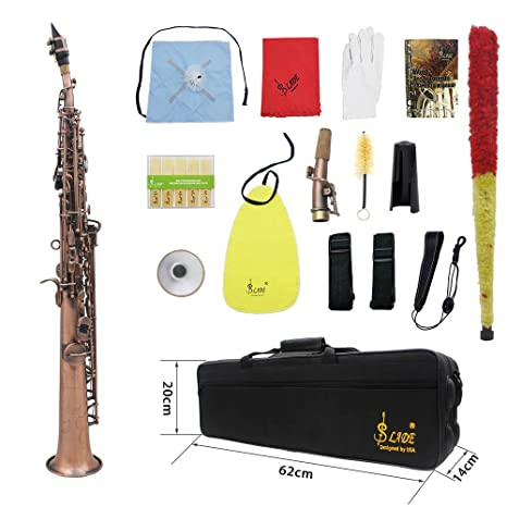 ammoon LADE Straight Bb Soprano Saxophone Sax Woodwind Instrument Abalone  Shell Key Carve Pattern with Case Gloves Cleaning Cloth Straps Brush,Red