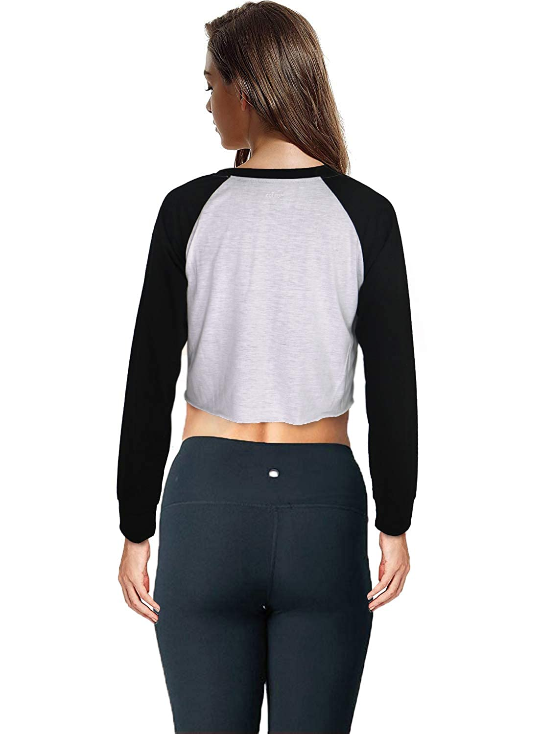 Womens Casual Round Neck Long Sleeve Crop Top Sweatshirts Athletic Workout Sports T-Shirt