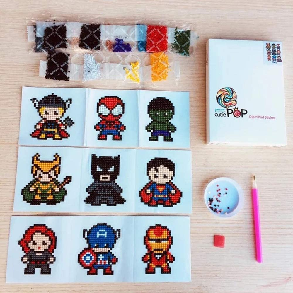 Mosaic Sticker by Numbers Kits Arts and Crafts Set for Children Finduat 5D DIY Superhero Diamond Painting Kits for Kids 9 Piece, Superhero