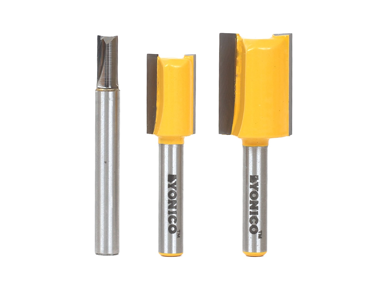 Yonico 14323q 3 Undersized Plywood Dado Router Bits for 3/4'', 1/2'' & 1/4'' Plywood with 1/4'' Shank