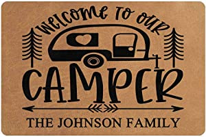 "MyPhotoSwimsuits Personalized Camper Doormat 24"" X 16"" Indoor Outdoor with Welcome to Our Camper Entrance Door Mat Rug Decor Custom Camping"