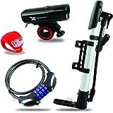 Xtreme Bright All-In-One LED Bike Kit; Bike Headlight, Bike Taillight, Cable Bike Lock & Hand Pump, Durable Combination