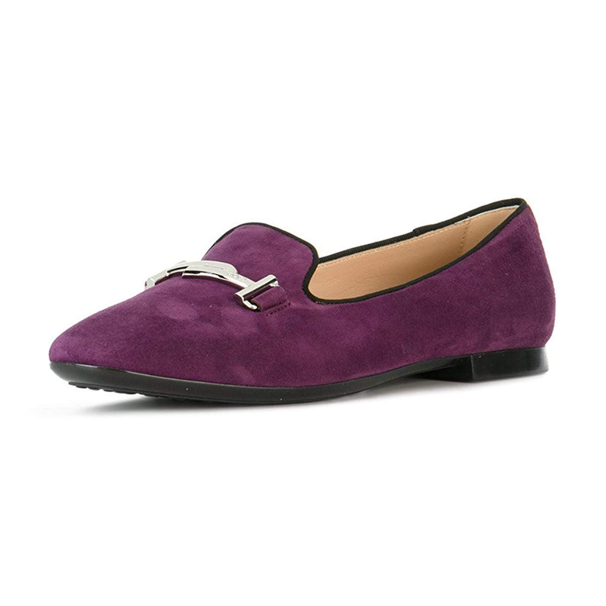 XYD Comfortable Low Heel Slip On Suede Flats Pointed Toe Ballet Loafer Dress Shoes for Women B075SDQCGX 5 B(M) US|Dark Purple