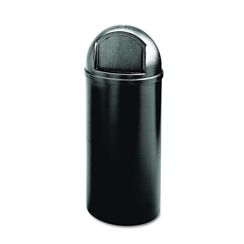 Rubbermaid Commercial Marshall Classic Trash Can, Round, 25 Gallon, Black, FG817088BLA
