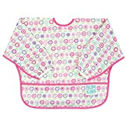 Bumkins Baby Toddler Bib, Waterproof Sleeved Bib, Bloom (6-24 Months)