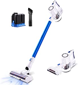 Cordless Vacuum Battery Stick Vacuum,Hand Vacuum Cordless Rechargeable,Stick Lightweight Cleaner Cordless with 22Kpa Powerful Suction for Bed Car Pet Hair Hardwood Floor Carpet (White)