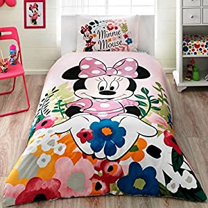 ALWAYS_CHEAPEST Disney Minnie Mouse Glitter Disney & Cartoon Character Single Twin 100% Cotton Duvet Cover Quilt Cover Bedding Set