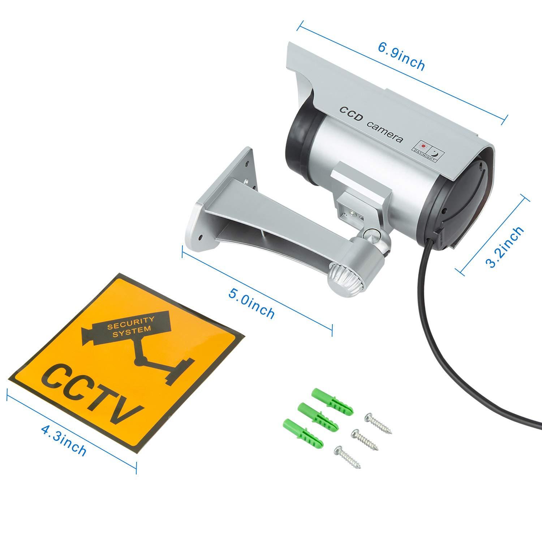 TOROTON C/ámara Falsa Dummy C/ámara con Energ/ía Solar de Seguridad LED Parpadeante Sistema de Vigilancia C/ámara Simulada Plata