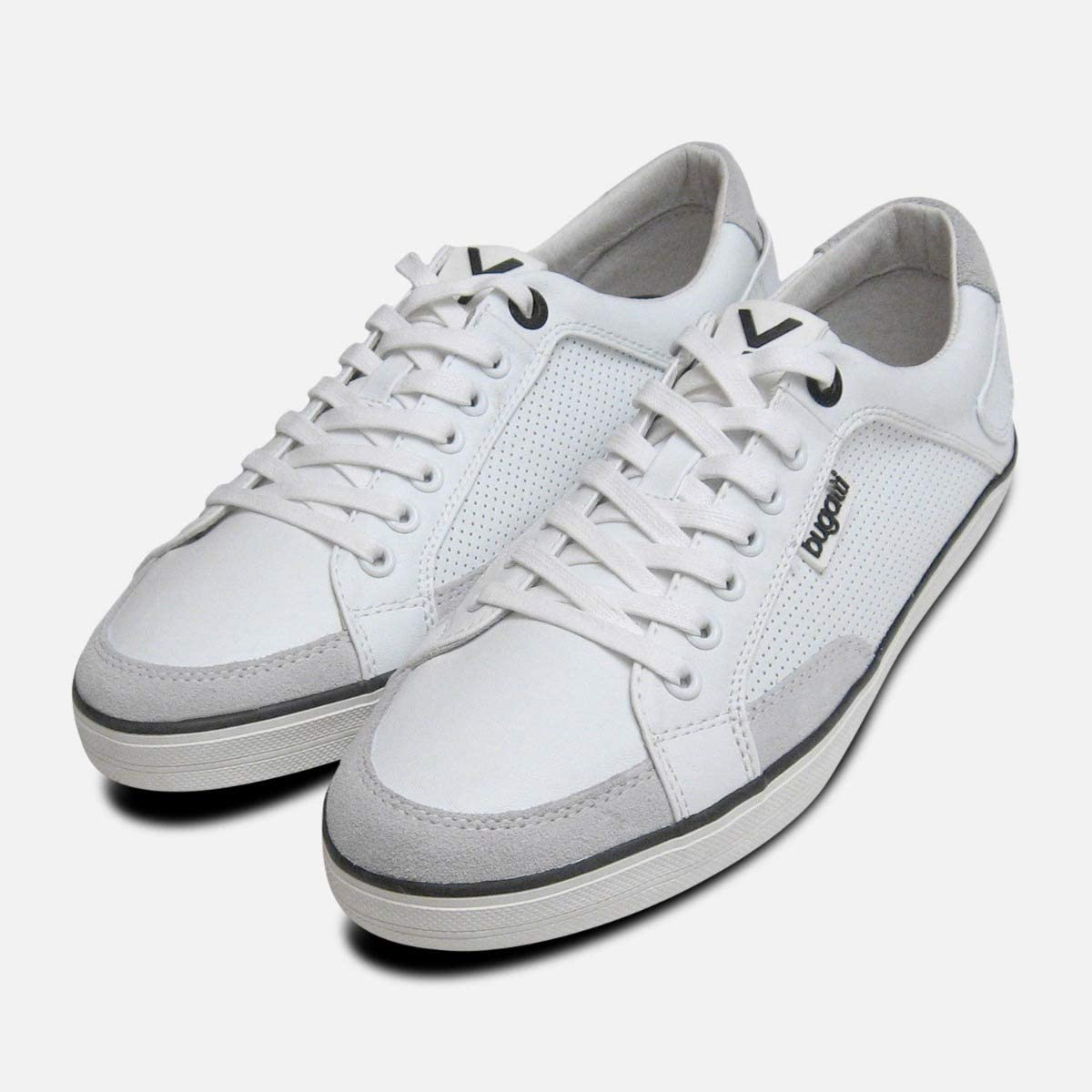 Mens White Leather Designer Trainers by