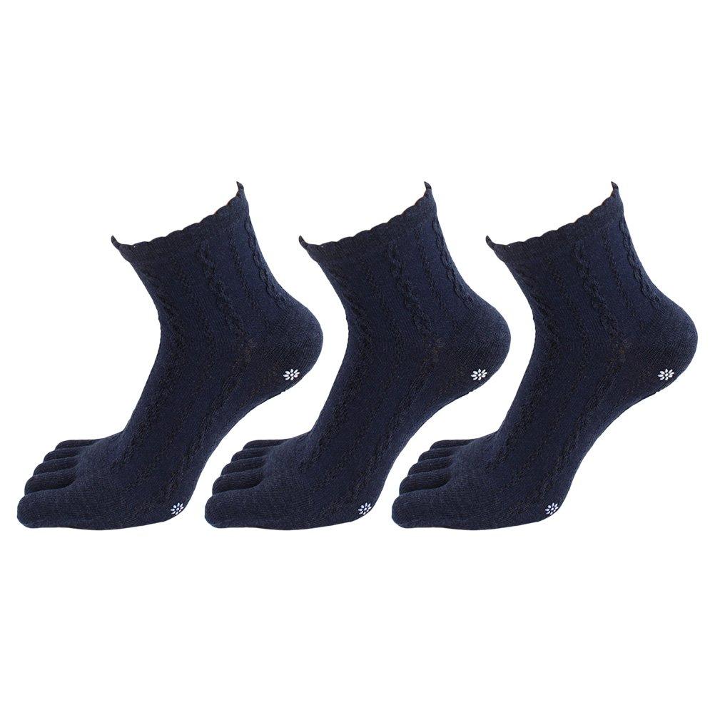 Zhhlaixing 3 Pairs Womens Five Finger Toe Socks Non Slip Cotton Sport Running Yoga Socks 4381#