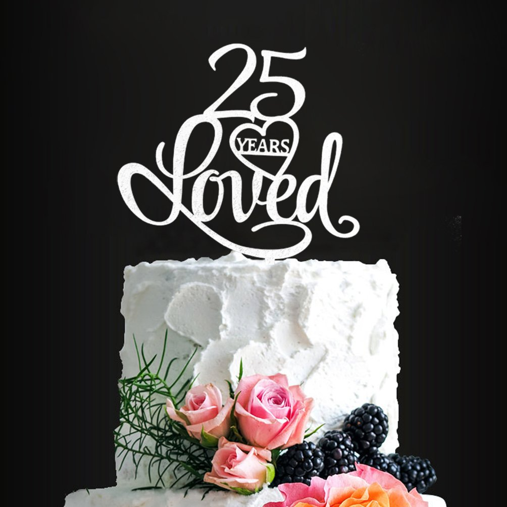 Cool Amazon Com Silver Acrylic 25 Years Blessed Cake Topper 25Th Funny Birthday Cards Online Alyptdamsfinfo