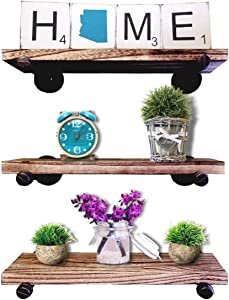 Ty Creations Industrial Pipe Shelving Wall Mounted Floating Shelves Set of 3 | Rustic Wood & Metal Wall Storage Shelves for Bathroom, Kitchen, Bedroom, Living Room, Office & More