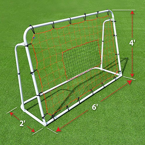 BenefitUSA 6x4Ft Adjustable Football Soccer Rebounder withTraining Net