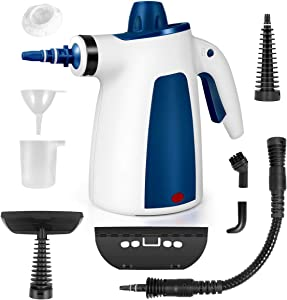 Handheld Pressurized Steam Cleaner, All Natural Household Steam Cleaning with 9-Piece Accessory Set, Multi-Purpose and Multi-Surface for Kitchen, Bathroom, Windows, Car Seat, Floor More