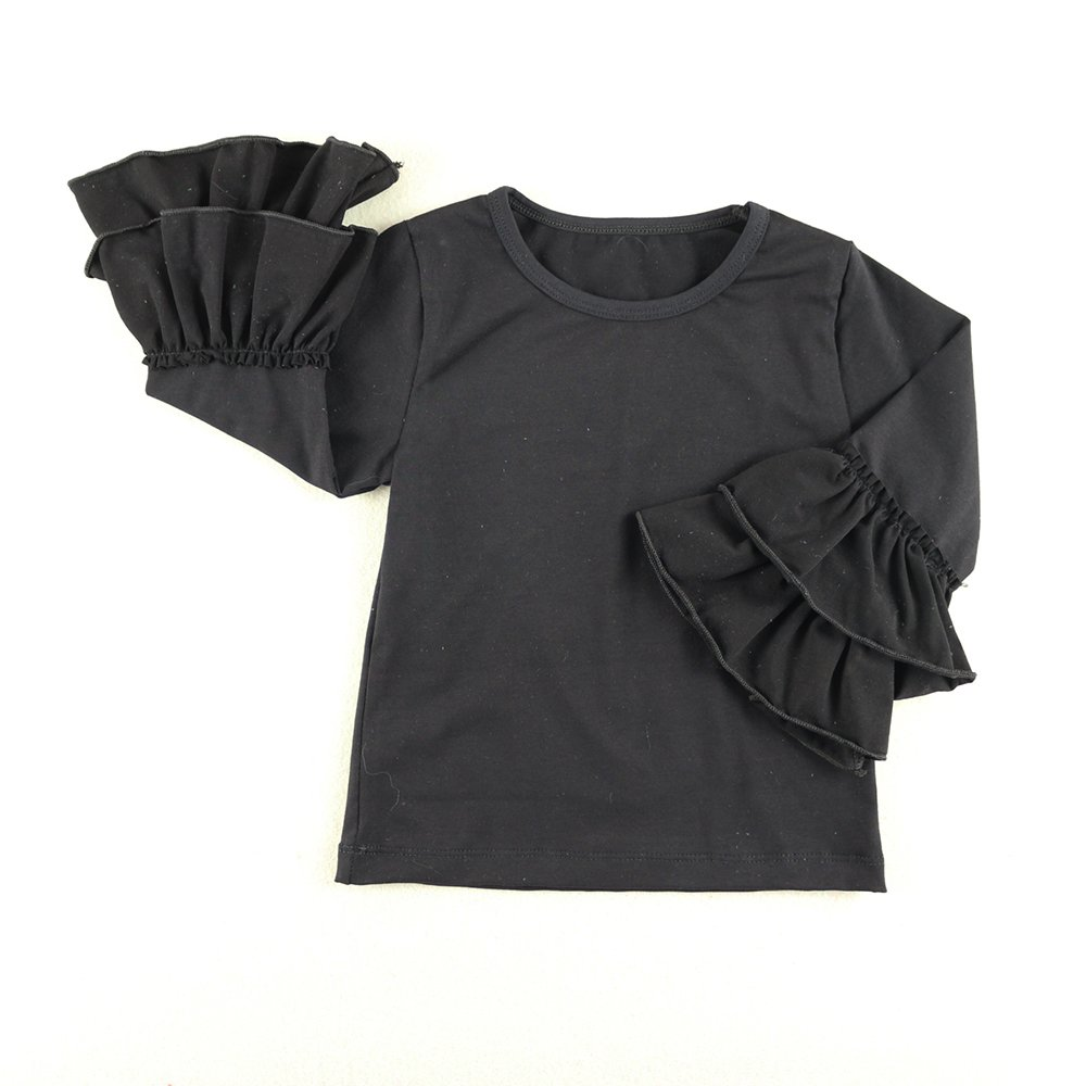 Wennikids Little Girls' Long-Sleeve Ruffle T-Shirt Medium Black by Wennikids