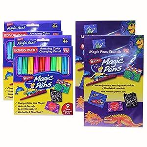Wham-O Magic Pens Set Includes 18 Color Changing Pens & Magic Stencils