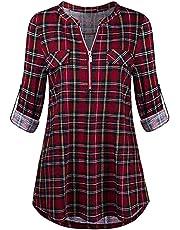 Subfamily Femmes Grande Taille T-Shirt a Carreaux 2 en 1 Manches Longues Haut à Carreaux imprimé Pull Pull-Over Tunique Classique Printemps