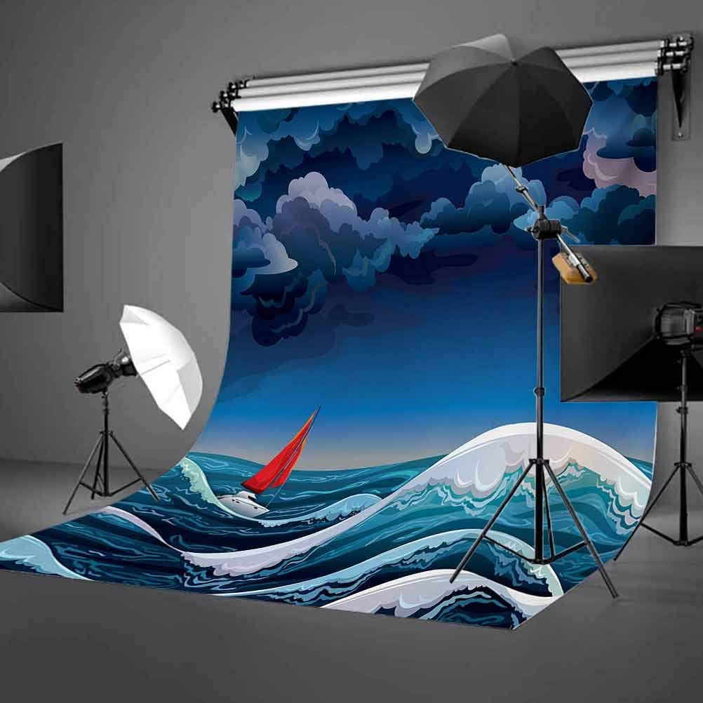Sailboat 8x10 FT Photo Backdrops,Night Seascape with Sailboat and Stormy Dramatic Sky Cartoon Illustration Background for Baby Shower Birthday Wedding Bridal Shower Party Decoration Photo Studio