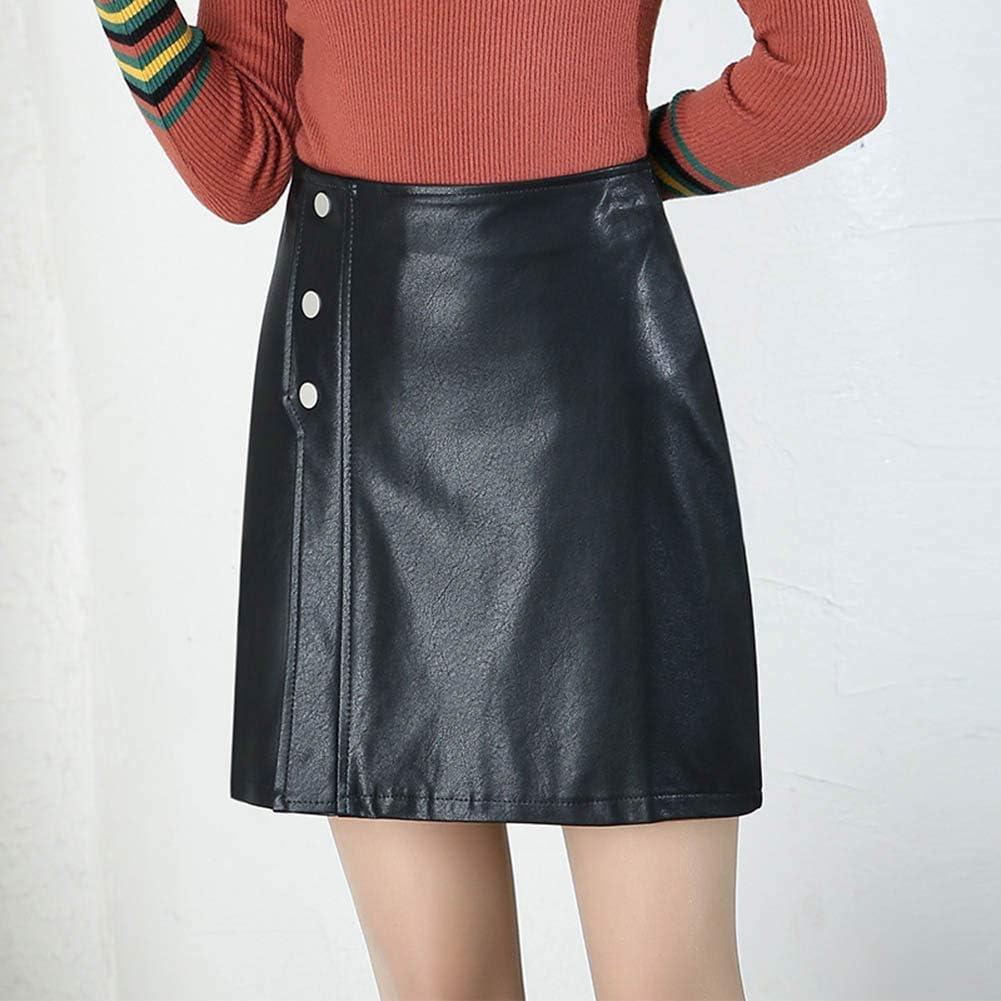 Falda con Botones para Mujer Cuero De La PU A-Line Cintura Alta ...