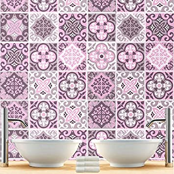 Sticker carrelage pour salle de bain modèle rose pack avec 32 10 x