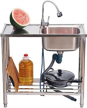 HomeLava Fregadero de un seno para jardín Fregadero de acero inoxidable con mesa de trabajo Fregadero al aire libre Aplicable al exterior 85 * 38 * 80 cm(sin grifo): Amazon.es: Bricolaje y herramientas
