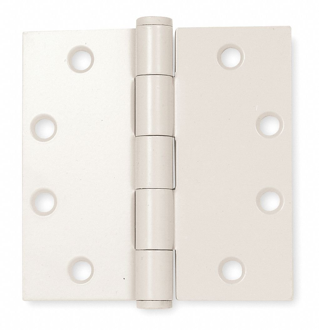 4'' x 4'' Butt Hinge with Beige Enamel Finish, Full Mortise Mounting, Square Corners