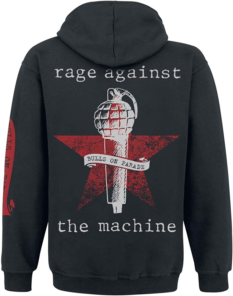 G/én/érique Rage Against The Machine Bulls on Parade Sweat-Shirt zipp/é /à Capuche Noir XL