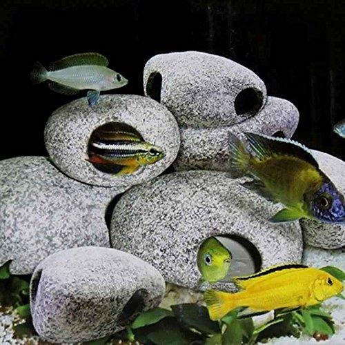 Omkuwl Decoración de la piedra de la cueva de cerámica del acuario para el diseño especial 9.5cm * 7.5cm * 5cm del tanque de pescados: Amazon.es: Hogar
