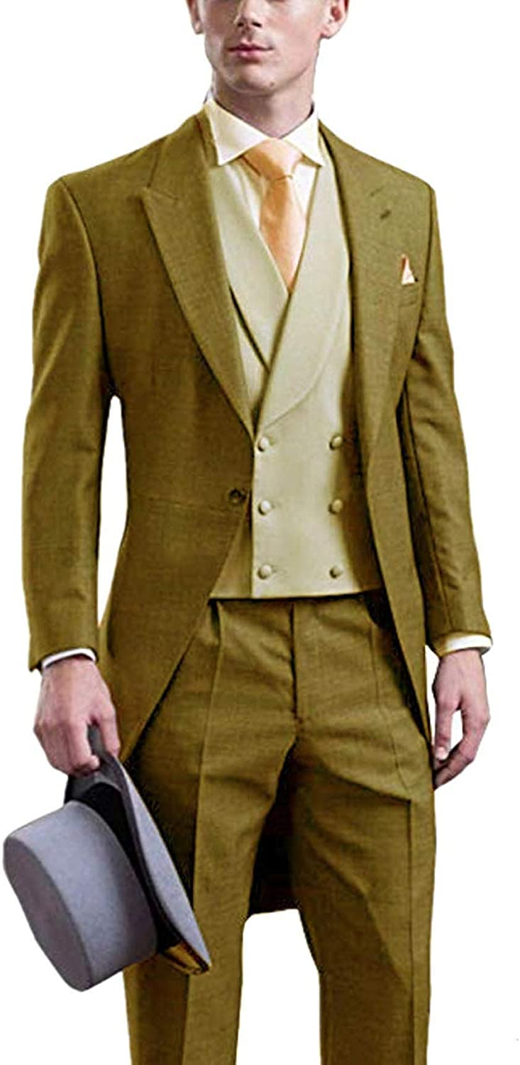 3 Pieces Mens Suit Classic Design Suit Slim Fit Shawl Lapel Tailcoat Tuxedos for Party Blazer+Vest+Pants