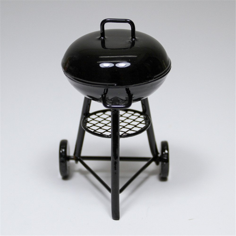 1:12 Dollhouse Miniature Black BBQ Grill Dollhouse Garden Outdoor Accessory  I