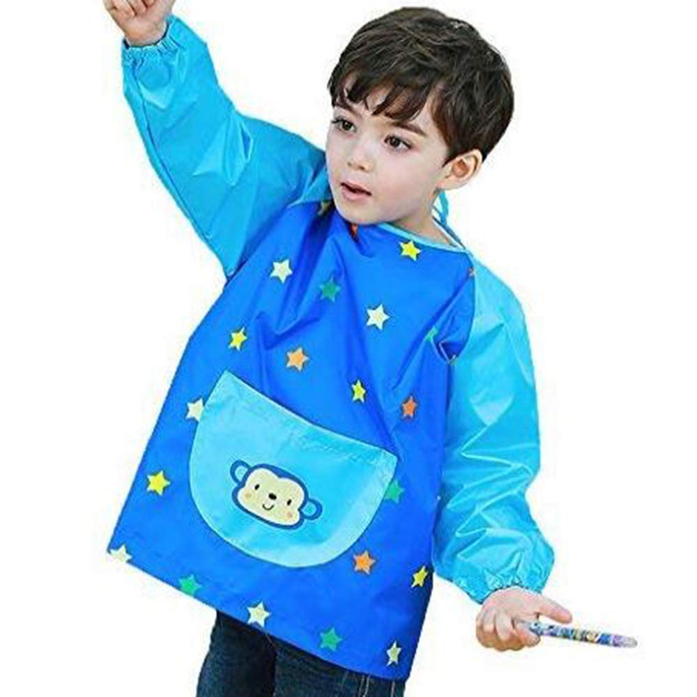 Hosim Children's Art Smock Long Sleeve Waterproof Painting Apron, Kids Lovely Monkey Artist Smocks Play Apron With Large Pocket, Ideal for Painting/Kitchen/Baking PAM-B-S