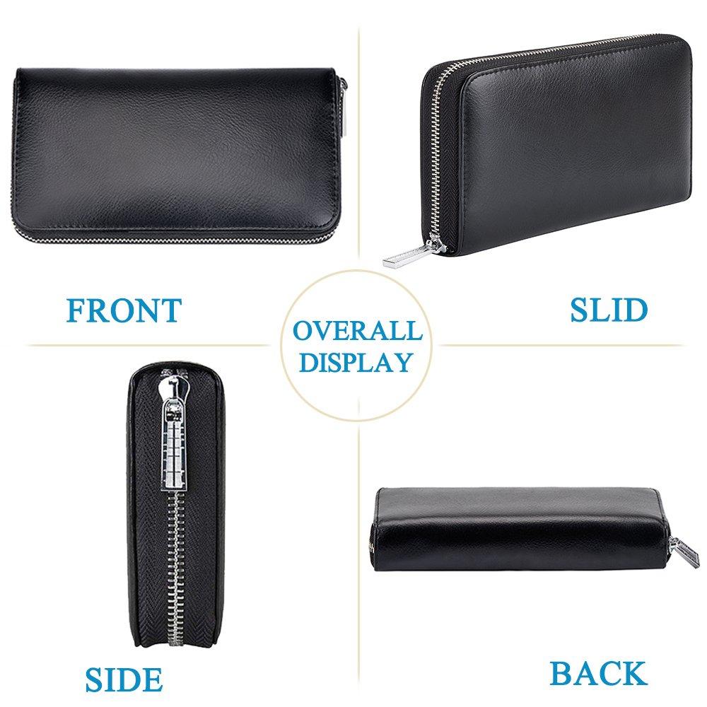 RFID Blocking Leather Wallet 36 Slots Card Holder Large Zipper Purse for Women/Men (Black) by Szezon (Image #2)