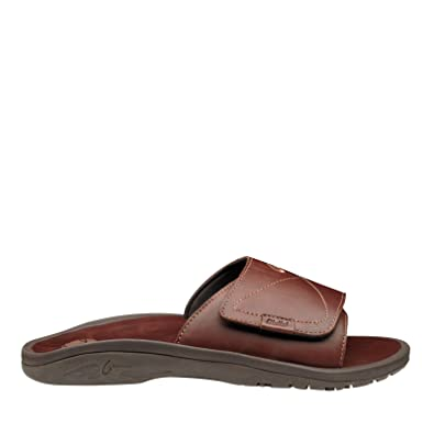 dfcd1dc36a6 OLUKAI Men s Ohana Leather Slide Dark Java Dark Java Sandal 7 D ...