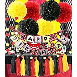 Mickey Mouse Theme Birthday Party Supplies Yellow Black Red Mickey Mouse Birthday Decorations/Tissue Paper Pom Pom Tassel Garland Mickey Mouse Party Decorations