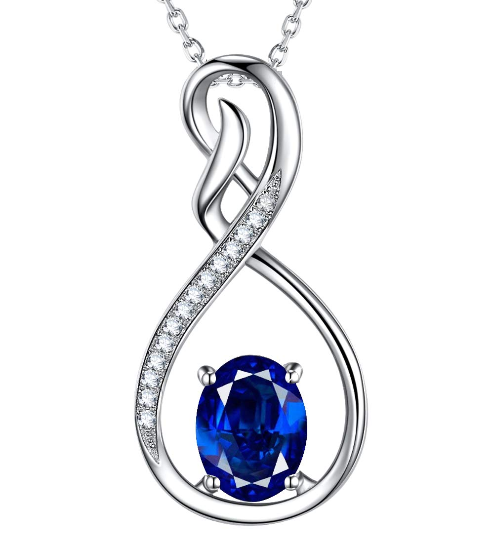 Created Blue Sapphire Jewelry September Birthstone Necklace Love Infinity Pendant Gift for Her Birthday Anniversary Gifts for Women Wife Lady Girlfriend Daughter Grandma Sterling Silver, 18''+2'' Chain