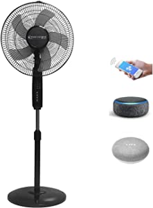 Technical Pro FXA16 WIFI Enabled 16 Inch Standing Fan With Oscillating Feature And Compatible With Amazon Alexa / Google Home Voice Control Smart Home (Black)