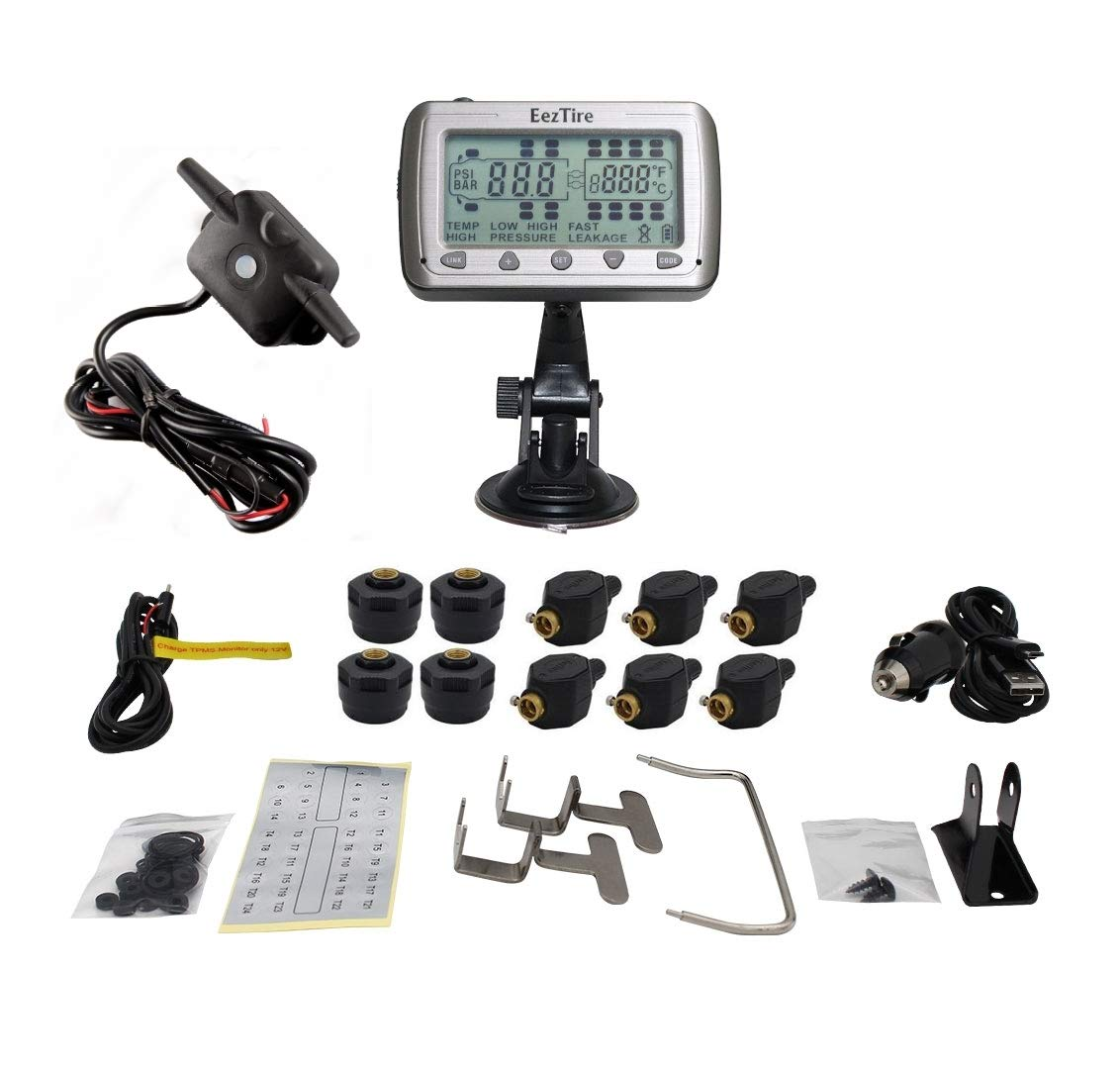 EezTire-TPMS10MIXB Real Time/24x7 Tire Pressure Monitoring System - 10 Mix-Sensors + Booster, incl. 3-Year Warranty