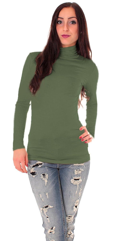 Damen Basic Langarm Shirt mit Rollkragen uni onesize