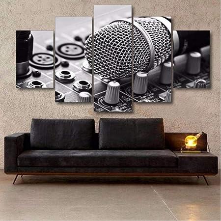 Buer Salle De Musique Toile Decorative 5 Pieces Musique Microphone