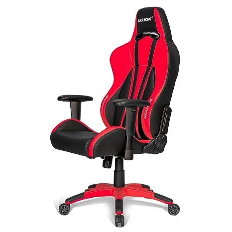 AK Racing Premium Plus Juegos Silla, Piel sintética, Negro/Rojo
