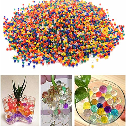 Lulujan Growing Water Beads Gel Pearls Rainbow Mix 40000 Beads for Gun Crystal Soft Bullet Toy Sensory Game Wedding Home Decor Vase Filler