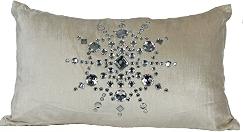Manor Luxe Bejeweled Snowflake Christmas Decorative Pillow, 12 by 20-Inch
