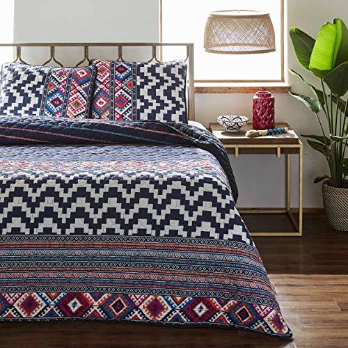 - Azalea Skye Kilim Stripe Quilt Set, Twin, Navy