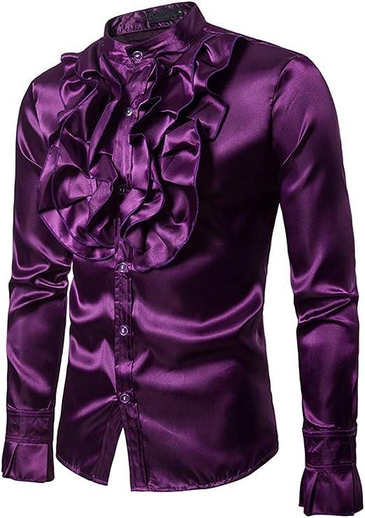 Los hombres camisa ocasional Para hombre traje floral brillante Slim Fit Stand Collar camisa de manga larga con botones para la fiesta del disco banquete escenario rendimiento Masquerad Camisa de vest: Amazon.es: