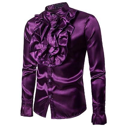 Los hombres camisa ocasional Para hombre traje floral ...